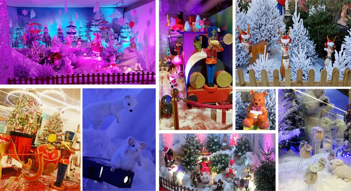 Train de Noël, traineau Père Noël, sapin décoré Noël, décoration de salle de noël
